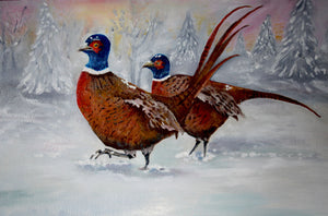 Two Pheasants in the Snow
