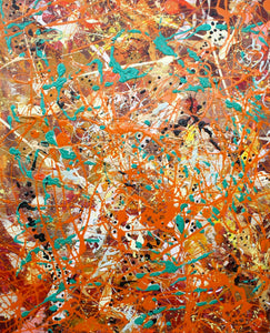 Safari is an abstract painting in general household paints painted by Alison Gargett Artist.  The colours are mainly orange, white, green and black.  Depicting the colours of Africa.  This is one of three African range paintings.  See Jungle Matters and Aqua.