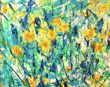 Load image into Gallery viewer, Yellow Flowers in Turquoise Garden