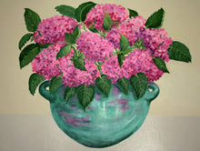 Load image into Gallery viewer, Pink Hydrangeas in Turquoise Bowl