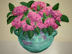 Pink Hydrangeas in Turquoise Bowl