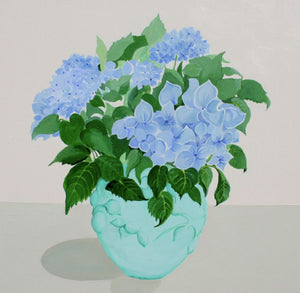 Blue Hydrangeas in Turquoise Bowl