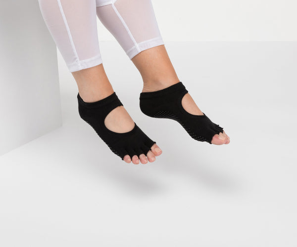 Classic Black Toeless Non Slip Grip Socks