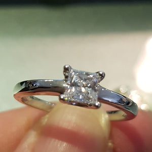 Solitaire Princess Cut Ring