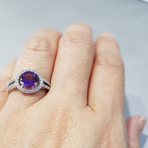 Halo Amethyst Ring