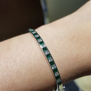 Channel Set Emerald Bangle