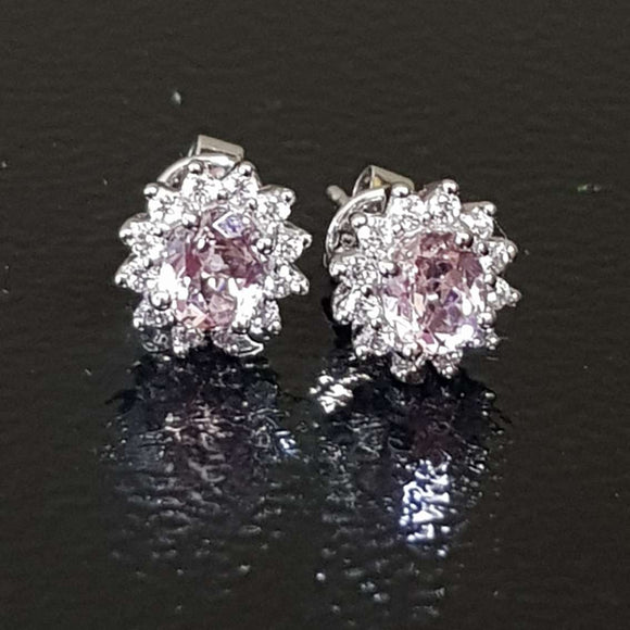 Cluster Pink Morganite Earring