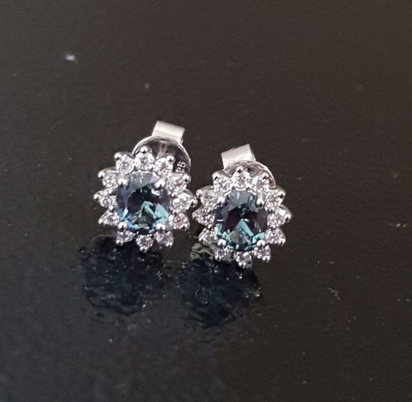 Blue Green Zircon Earring