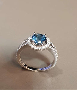 Halo Blue Topaz Ring