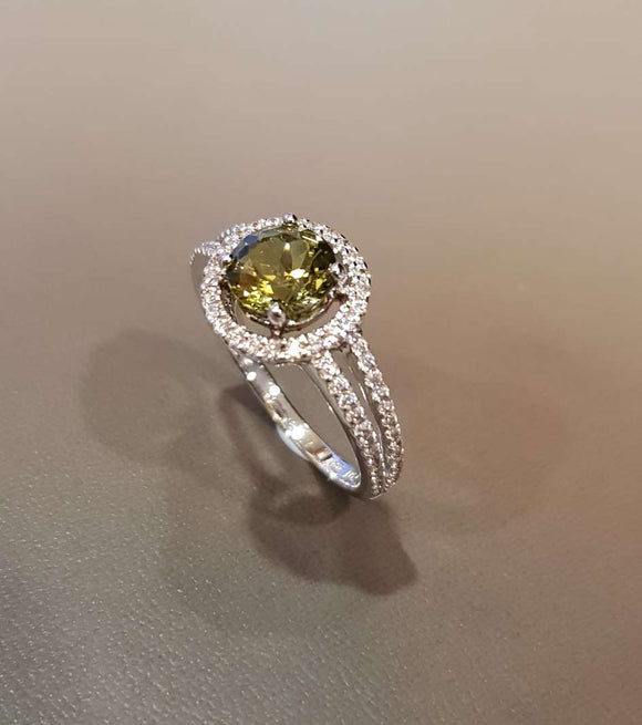 Halo Peridot Ring