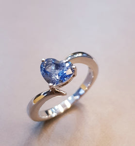 Delicated Heart Shaped Aquamarine Ring