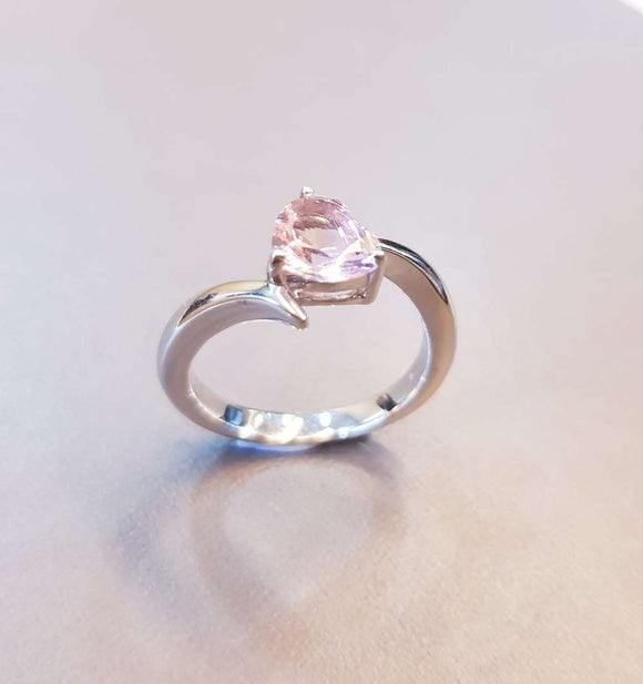 Delicate Heart Shaped Morganite Ring