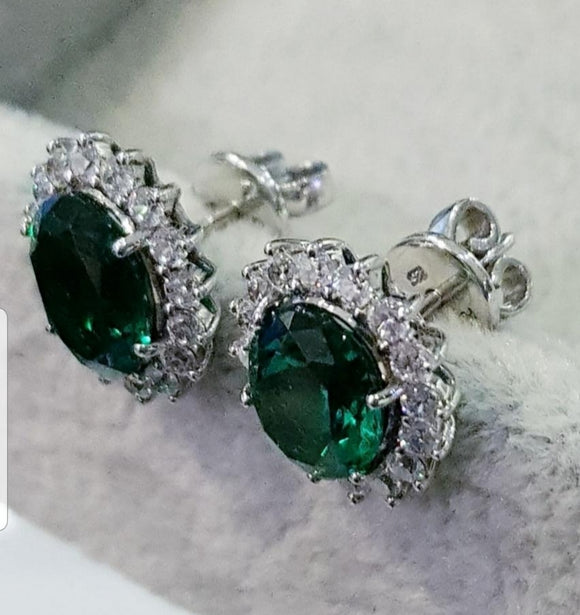 Cluster Emerald Earring