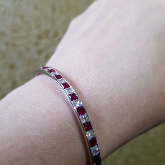 Channel Set Ruby Bangle