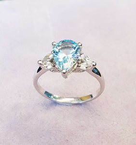 Blue Topaz Pear Ring