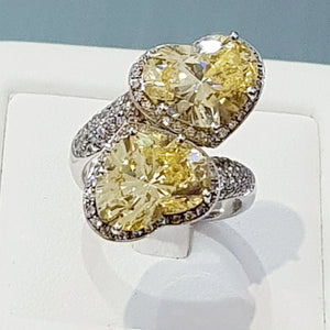 Heart Shaped Canary Ring