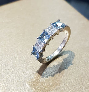 Square Aquamarine Eternity Ring