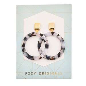 Foxy Originals Brooke Earrings | resin earrings | plated in 14 karat gold | hoop earrings | marble | bloom boutique
