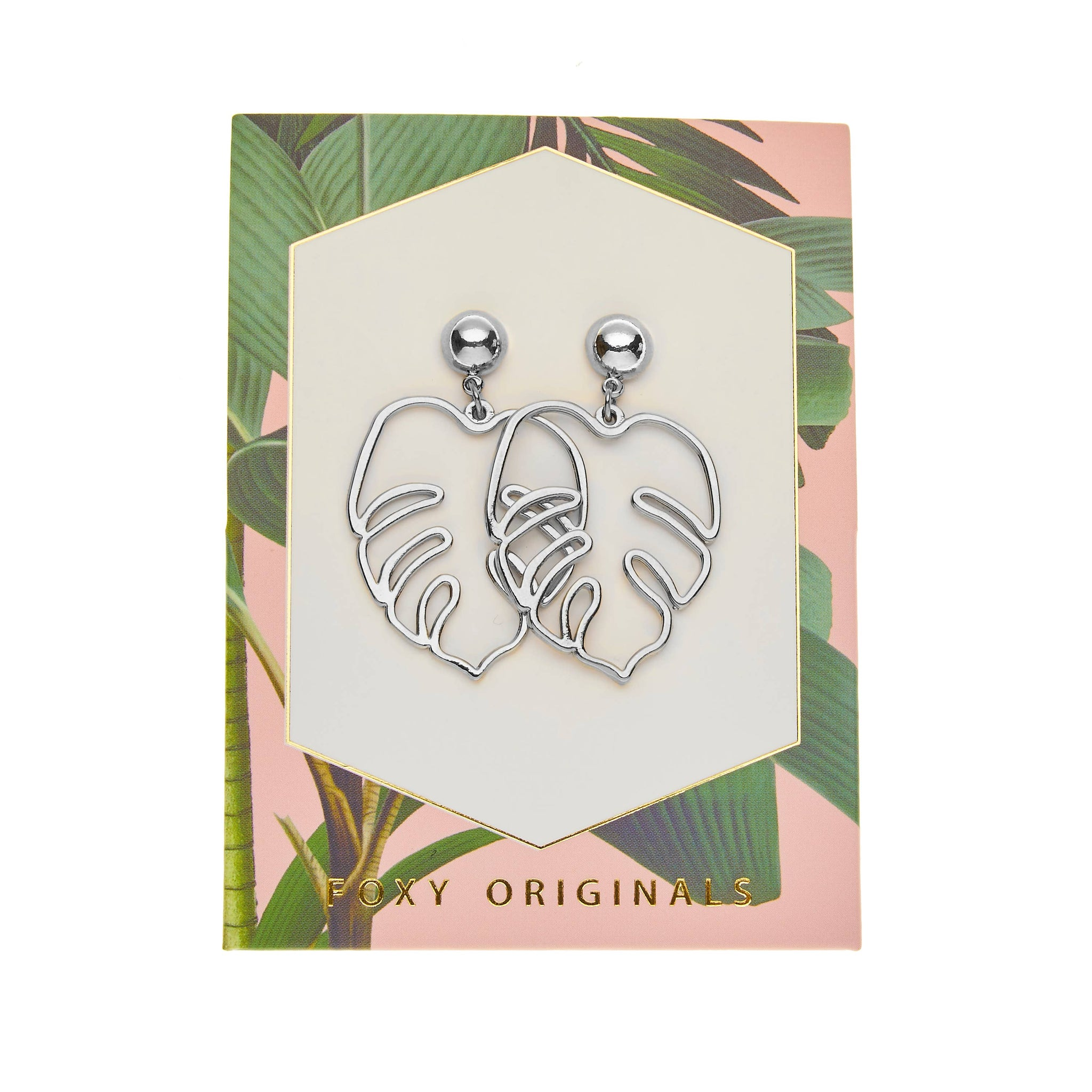 Foxy Originals Lush Statement Earrings | plated in 14 karat silver | palm leaf earrings | stud earrings | bloom boutique