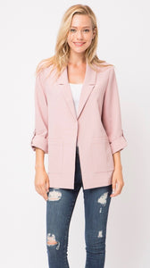 dusty rose pink blazer | open front | bloom boutique