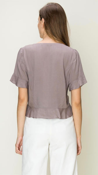 mauve flutter sleeve top | button down | crop top | flowy | bloom boutique