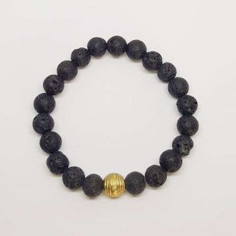 Protection, Strength, and Stability | Beaded Stretch Bracelet | Lava Gemstone | Bloom Boutique