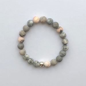 Bloom Boutique - Appreciation, Empowerment & Understanding | Beaded Stretch Bracelet | Pink Zebra Jasper Gemstone