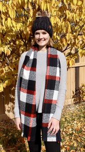 plaid print scarf with frayed edges | black, white, red | bloom boutique