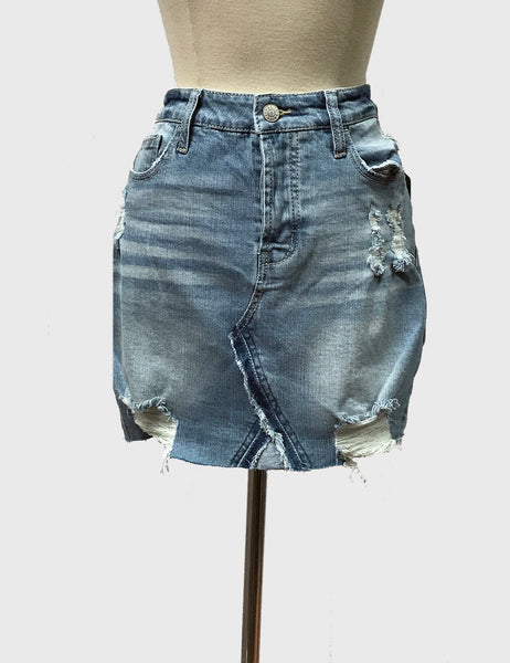 Raw Hem Denim Skirt | light wash | Bloom Boutique