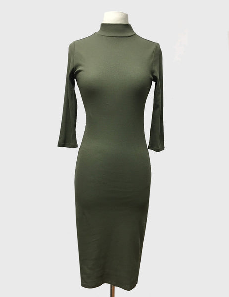 Olive Ribbed High Neck Dress | long-sleeved dress | Bloom Boutique