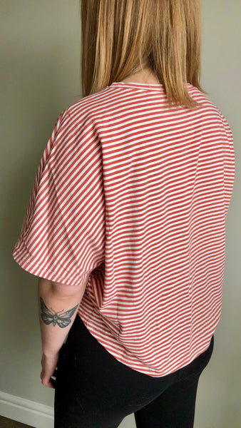 Island Life Stripe Knit Top | Sadie & Sage | berry | jersey sleeves | cropped front | loose fit