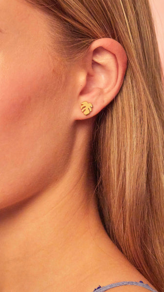 Foxy Originals Palm Stud Earrings | palm leaf | small earrings | plated in 14 karat gold | bloom boutique