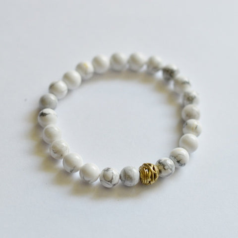 Clarity, Forgiveness and Relaxation | Beaded Stretch Bracelet | Howlite Gemstone | meaning, intention jewelry | Bloom Boutique