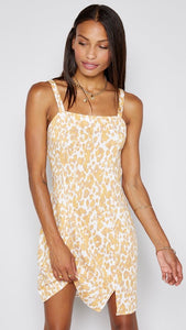 Sadie and Sage | Beachcomber Dress | leopard print | yellow and white | adjustable straps | thin straps | minidress
