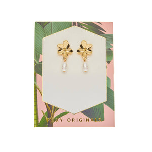 Foxy Originals Orchid Earrings | plated in 14 karat gold | flower earrings | pearl | drop earrings | bloom boutique
