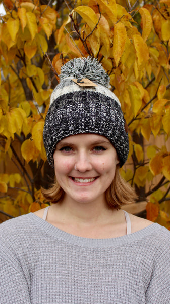 C.C beanie with pom pom | black and grey | winter accessories | bloom boutique