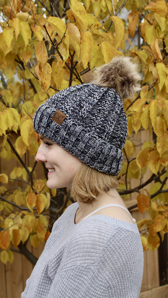C.C beanie with pom pom | dark grey | winter accessories | bloom boutique