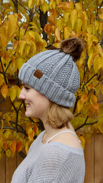 C.C beanie with pom pom | light grey | winter accessories | bloom boutique