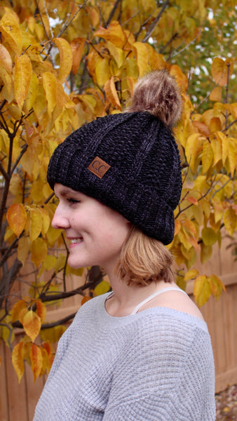 C.C beanie with pom pom | black | winter accessories | bloom boutique