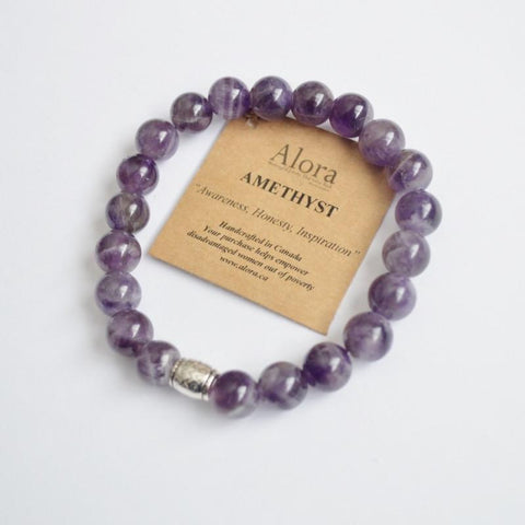 Awareness, Honesty & Inspiration |  Beaded Stretch Bracelet | Amethyst Gemstone