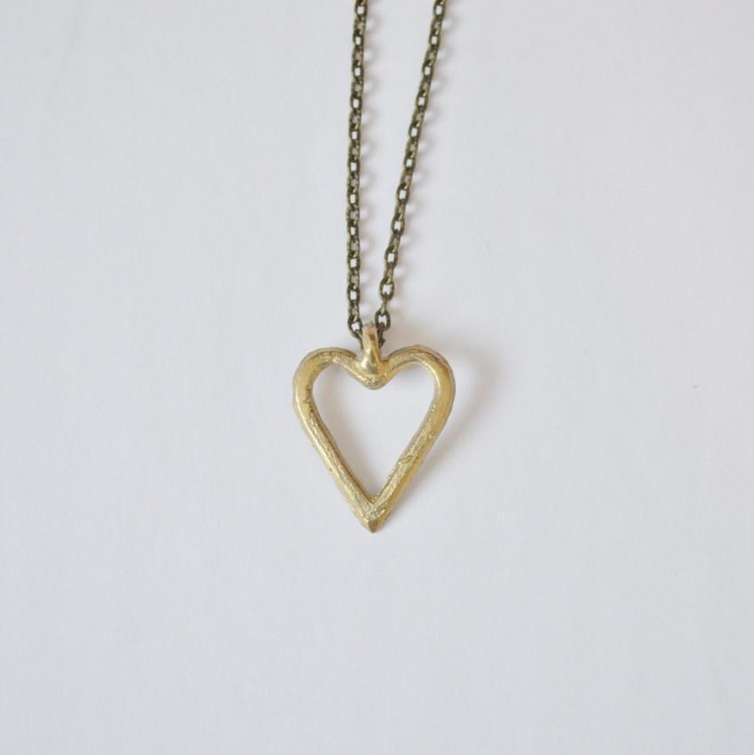 Heart Pendant Necklace | Recycled Brass | Bloom Boutique