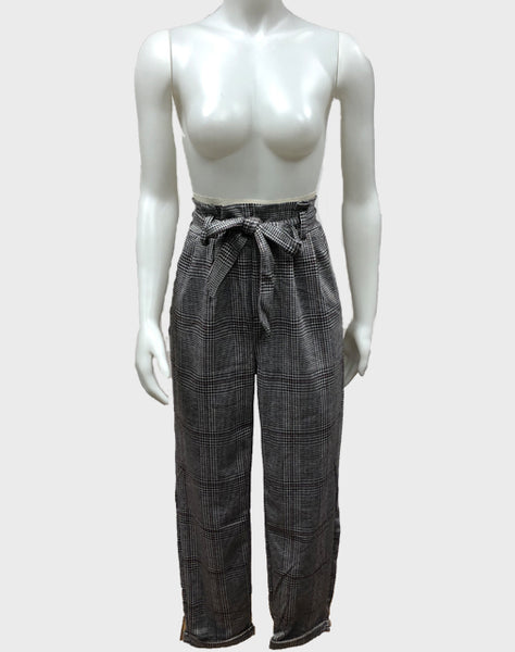 High waist plaid pants with front tie | Women's business wear | business casual | Bloom Boutique