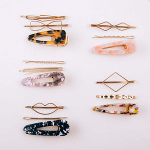 resin marble hair clip and gold bobby pins | tortoise | baby pink | bloom boutique | hair accessories