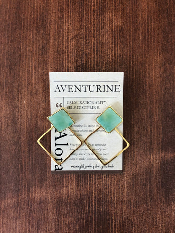 Geometric Square Statement Stud Earrings | Aventurine