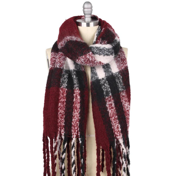 plaid tassel scarf | burgundy, black, white | winter accessories | bloom boutique