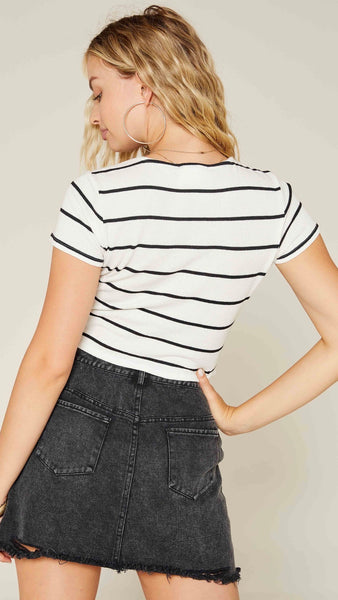 Back At Ya Stripe Knit Top | Sadie & Sage | black and white stripes | short sleeve | ruched | tie up | fall fashion