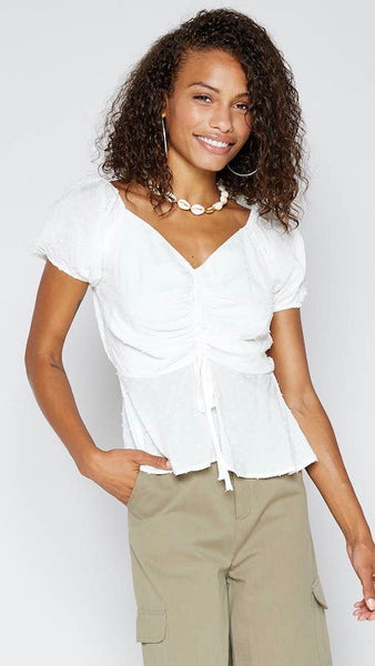 Sadie and Sage | La Vida Bonita Blouse | white | tie up | adjustable ruching