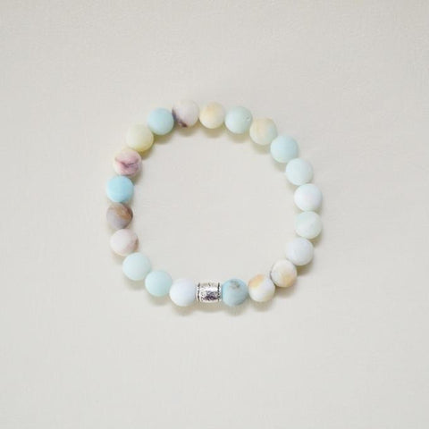 Courage, Compassion & Prosperity | Beaded Stretch Bracelet | Matte Amazonite Gemstone