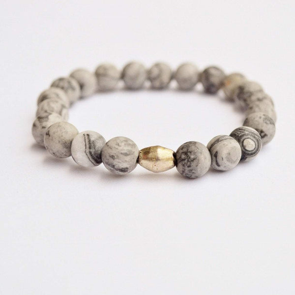 Bloom Boutique - Gentleness, Comfort & Relaxation | Beaded Stretch Bracelet | Matte Grey Jasper Gemstone