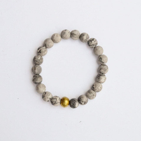 Gentleness, Comfort & Relaxation | Beaded Stretch Bracelet | Matte Grey Jasper Gemstone | Bloom Boutique